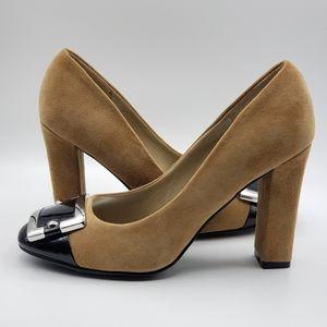 WHBM, NWOT, suede heels, 6.5, Tan